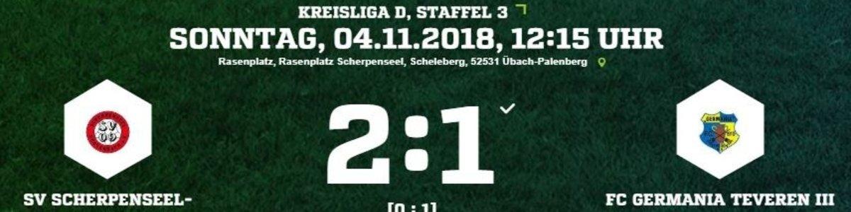 Germania III verliert beim SV Scherpenseel II durch zwei späte Gegentore