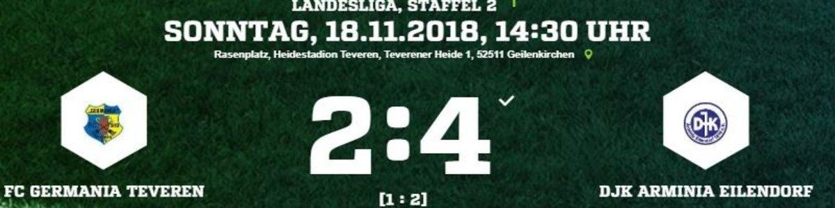 Erste Niederlage unter Rob Hutting. 2:4 gegen Arminia Eilendorf.