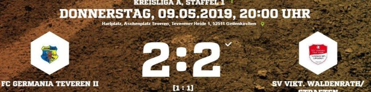 Germania II in Unterzahl 2:2 gegen Aufstiegskandidat Waldenrath/Straeten