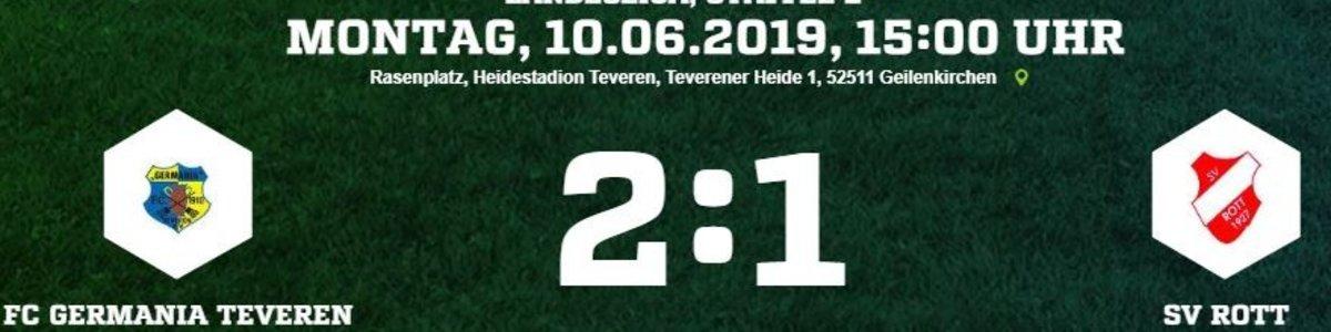 Geramania I bezwingt im letzten Heimspiel den Zweiten Rott mit 2:1