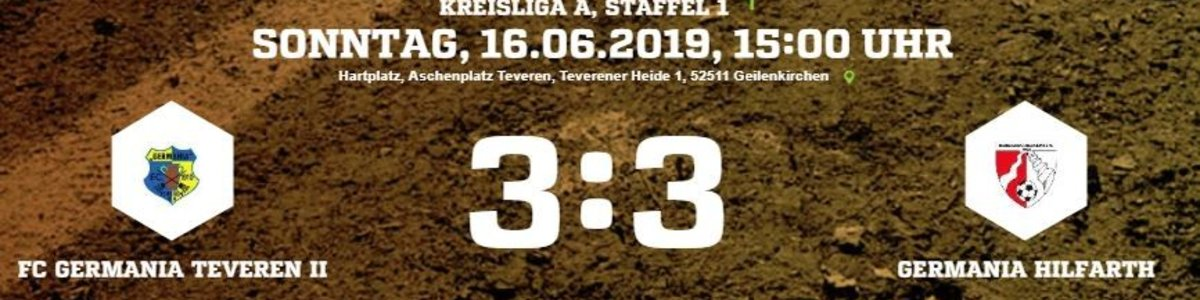 Germania II zum Abschluss der Saison 3:3 gegen Germania Hilfarth