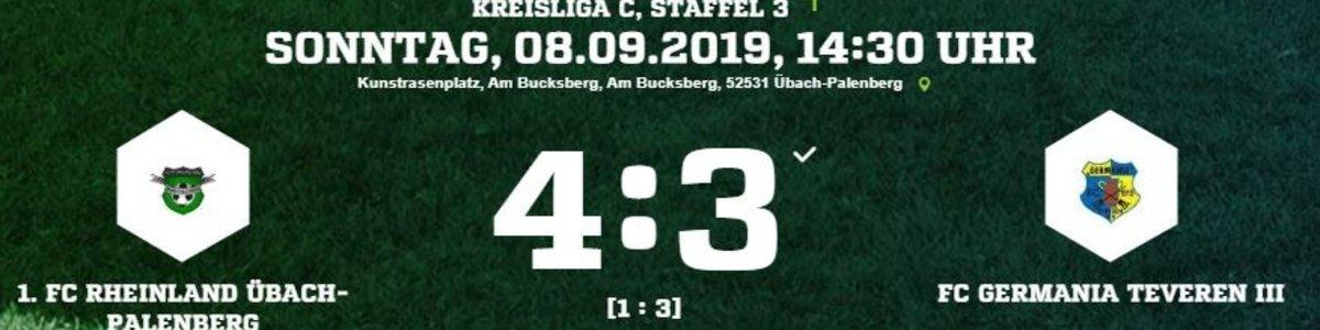 Germania III verspielt in Rheinland Übach 3:1 Halbzeitführung und verliert 3:4