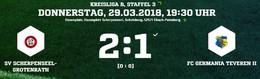 Germania II unterliegt in Scherpenseel 1:2, bleibt aber Tabellenführer