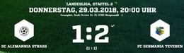 Germania I schafft den ersten Sieg 2018. 2:1 bei Alemannia Straß.