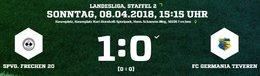 Germania I kassiert die Niederlage in Frechen in der 86. Minute.